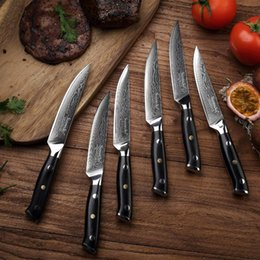 knife orange handle Canada - 5 ''Inch Steak Knife Damascus Vg10 Steel 6pcs Kitchen Knives Set G10 Handle High Quality Knife Gift Box Packaging