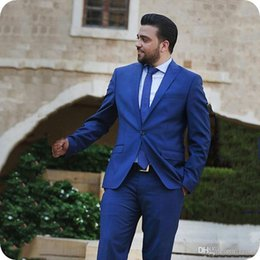 Tuxedo Suits For Men Slim NZ - Casual Royal Blue Men Suits for Wedding Groom Tuxedos One Button 2Piece Groomsmen Suits Man Blazer Pants Slim Fit Costume Homme Prom Party