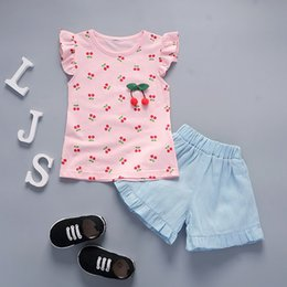 Cotton Cherry Australia - good quality 2019 summer baby girl clothing sets Cherry print vest+shorts cotton sleeveless infant suit newborn toddler outfits