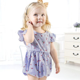 $enCountryForm.capitalKeyWord Australia - 2019 Blue Newest Cute Fly Sleeceless Cherry Fruits Baby Girls Rompers Pink Colors Newborn Girls Bodysuits One-piece Lovely Kids Jumpsuits