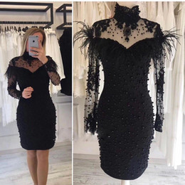 Royal blue pink decoRations online shopping - Sexy Black White Short Prom Dresses Long Sleeves High Neck Full Beaded Cocktail Party Dresses with Fur Decoration Sexy Club Wear