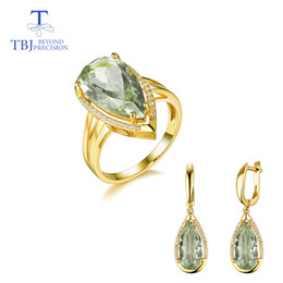 $enCountryForm.capitalKeyWord NZ - TBJ,natural green amethyst gemstone jewelry Necklaces and earrings set in 925 silver gemstone jewelry for women with gift box
