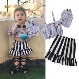 ba1ae902ce9 Retail girls boutique outfits summer 2pcs skirt set Korean fashion striped  flower strap shirt+ruffle skirt baby tracksuit designer clothes