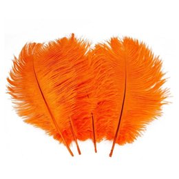 ostrich plumes feather UK - Wholesale 100pcs lot 14-16inch(35-40cm) orange ostrich feathers plumes for Wedding centerpieces wedding party table decor z134C