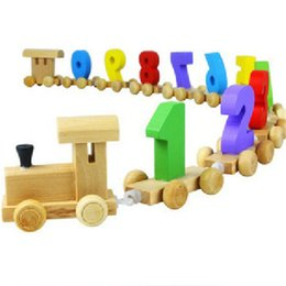Vehicle Blocks NZ - Baby Toy Wooden Digital Small Train Vehicle Blocks Eduactional Wooden Toy children gifts High Quality Montessori toys