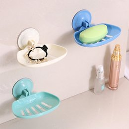 Discount soap holder wall mount - Plastic Strong Sucker Soap Dish Sponge Storage Basket Drain Soap Storage Rack Holder Wall Mounted Kitchen Bathroom Acces