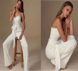 simple column wedding dresses Canada - 2019 african elegant jumpsuits Wedding Dresses sweetheart simple wedding gowns Custom Made Lace Arabic Chiffon boho Bridal Party Gowns
