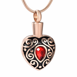 cremation jewelry for ashes pendant Australia - IJD9008 Stainless Steel Necklace for Ash Urn Cremation Rose Gold Pendant Pattern Love Red Crystal Heart Birthstone for Family Jewelry