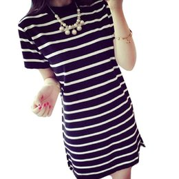 $enCountryForm.capitalKeyWord Canada - Cheap Quality Good Women's Long Round Neck Striped Short-sleeved T-shirt Casual Dress For Women woman clothes