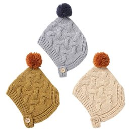 earflap beanies Australia - Cute Pompom Ball Toddler Kids Winter Thick Chunky Knitted Warm Hat Infant Baby Bonnet Earflap Hood Stretchy Beanie Cap S M