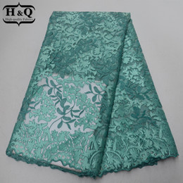 $enCountryForm.capitalKeyWord UK - Aqua Green High Quality 2019 African Lace Fabric French Tulle Lace With Stone Embroidered Nigeria Guipure Lace For Party Dress