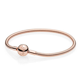 smooth silver snake chains UK - 2019 New Arrival High Quality Top Pandora Bracelets With DIY Shine Sterling Silver Charms Rose Heart Clasp Smooth Rose With Original Box