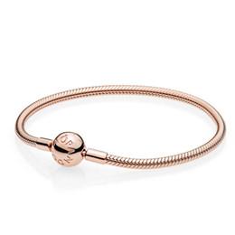2019 nouvelle arrivée de haute qualité Top Pandora bracelets avec brillance bricolage breloques en argent sterling Rose coeur fermoir lisse Rose avec boîte d'origine en Solde