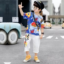 Handsome Kids Suits Australia - Two Kids Handsome Sports Suits for Children in the New Summer Clothes of 2019