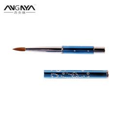 $enCountryForm.capitalKeyWord Canada - wholesale New 1pcs #4#6#12#14#16#18#20#22 Kolinsky Sable Brush Acrylic Nail Art Brush Light Blue Metal Crystal Acrylic Salon A008