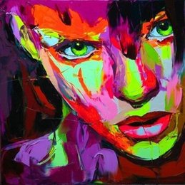 painting faces NZ - Hand painted Palette knife painting portrait Palette knife Francoise Nielly Face Abstract Oil painting Impasto figure on canvas Decor FN106