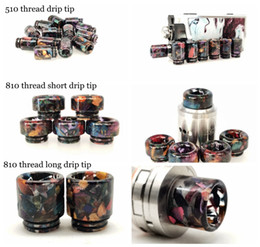 wide bore wood drip tip UK - 3 Styles 510 810 Thread Stable Wood resin Material Drip Tips Wide Bore Mouthpiece for TFV8 Prince 528 TFV8 Baby Trinity Alpha Acrylic Box