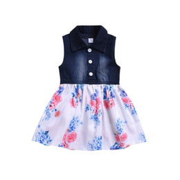 $enCountryForm.capitalKeyWord NZ - Baby Girls Dress Lovely Hot Kids Jean Denim Flower Ruffled Sundress Dress for Girls Clothing Costume