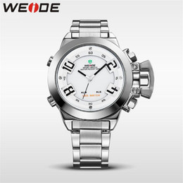 High End Sports Watches Australia - WEIDE-WH1008 men's sports watch dual movement digital + LED dual display Japanese high-end movement stainless steel watch