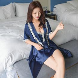 $enCountryForm.capitalKeyWord Australia - Summer New Elegant Lace Twinset Robe Set Sexy Mini Nighty&robe Set Loose And Comfortable Home Dressing Gown Size M L Xl Xxl