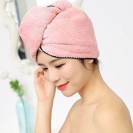 Bath beige, Dark Purple, Light Pink, Light Blue Nice 4pcs Microfiber Hair Drying Towels Fast Drying Hair Cap Long Hair Wrap Hair Towel Bath & Shower