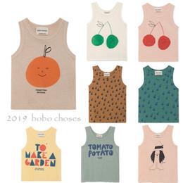 Sleeveless T Shirts For Kids Australia - Bobo New Arrivals 2019 Kids Summer Vest T Shirt For Boys Girls Clothes Cherry Apple Print Sleeveless T-shirt Tops Tank Y190518