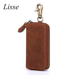 vintage leather car key holders NZ - Women Crazy Horse Leather Key Wallets Men & Car Key Bag Multi Function Case Fashion Housekeeper Holders