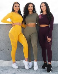 compression short soccer NZ - Tracksuits Gym Suit Fitness Clothes Flawless Knitted Long Sleeve Compression Crop Top Seamless Leggings Yoga 2 Piece Set Flexible Sport dry