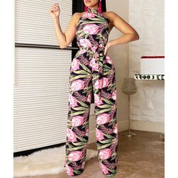 wide leg flower pants NZ - Sexy Flower Print Halter Two Piece Women Sleeveless Belt Crop Top Wide Leg Pants Casual Suit Summer Outfits