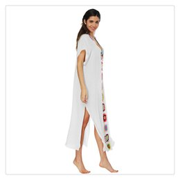 d0b9ad61b099 Women Classic Patchwork Slit Sexy Long Beach Dress Beach Cover up Swimwear  Women Cover wear New Arrival Directly From Factory