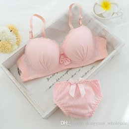 Discount cute young girl sexy - Cute-type Small Fresh Young Girl Bra Push Up Underwear Set Lace Women Underwear Bamboo Summer Style Thin Pink Lingerie S