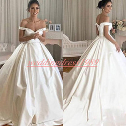 $enCountryForm.capitalKeyWord Australia - Simple Style Satin Wedding Dresses Off The Shoulder Bride A-Line Church Plus Size Saudi African Bridal Gowns Ball Formal Custom Made