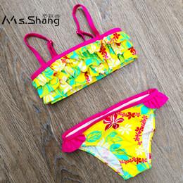 Swimwear Infant Australia - Ms.Shang 2018 Floral Children Swimsuit Baby Girl Swimwear Bikinis Infant Bathing Suit for Girls Cute Ruffle Kids Swimming Suits