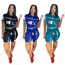 Wholesale Women Champions Letter Summer Short Suit Short Sleeve T shirt Top Tees Shorts Pants Two Piece Set Tracksuit Jogger Gym Outfit A3162