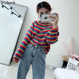 $enCountryForm.capitalKeyWord Australia - Woherb Cute Crop Rainbow Sweater Women 2019 Korean Fashion Kawaii Pullover Vintage Lantern Sleeve Striped Print Sweaters Jumper