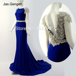 Discount long lycra gowns 2018 New Open Back Long Evening Dresses Cap Sleeve Boat Neck Tulle Hand Made Crystal Beading Beige Black Blue Red Prom Gowns 805