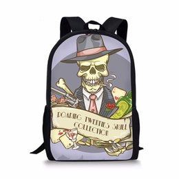 $enCountryForm.capitalKeyWord Australia - THIKIN Skull Cartoon Design Printing Backpack Cool Schoolbag for Children Boys Bookbag Fashion Casual Custom Students