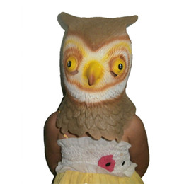 Chinese  Halloween Deluxe Design For Party Animal Costume Mask Latex Owl head Mask manufacturers