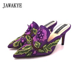 $enCountryForm.capitalKeyWord Canada - New Spring Embroidered high heel Slippers Women Purple blue Satin heeled ladies Mules Outdoor slip on Shoes Woman JAWAKYE