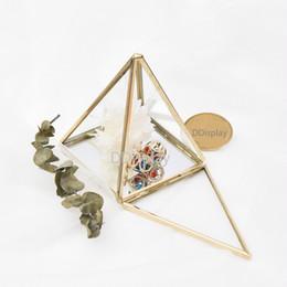 Glasses Storage Australia - [DDisplay]Vintage Triangular Glass Jewelry Box Polygon Necklace Storage Box Wedding Lovers Rings Glass Case Preserved flower Display Box