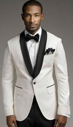Dark Green Tie Grey Suit Australia - 2019 Modern Men Suits Ivory Shawl Lapel Wedding Tuxedo Groomsmen Custom Business Suits (Jacket+Pants+tie)