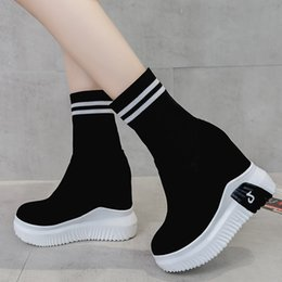 Purple Martin Boots Australia - New Women Boots Thick Sole Fashion Striped Letter Knitting Half Boot Winter Inner Increase Martin Boots