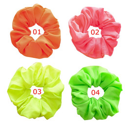 neon hair headbands Australia - brand new HOUSE Neon Scrunchies Elastic Hair Ties Colorful Ponytail Holders Pink Green Orange Bright Hair Accessories