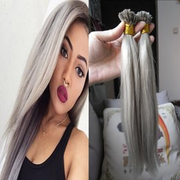 """Discount grey remy hair extensions - Grey virgin hair keratin stick tip hair extensions 100s Nail U Tip Machine Made Remy Pre Bonded Hair Extension 16"""""""