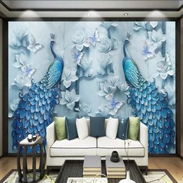 Peacock 3d Painting Australia - Modern Chinese 3d oil painting peacock background wall sofa video wall stereo wallpaper living room TV wallpaper mural