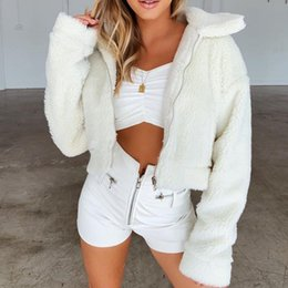 $enCountryForm.capitalKeyWord Australia - Nadafair Faux Fur Coat Women Autumn Winter Fluffy Teddy Fur Jacket Turn Down Pocket Short Plush Outerwear Coat Female White Red