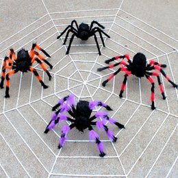 black plush spiders Australia - Spider web Halloween Plush Toys Black White Cobweb Haunted House Bar Party Festive Prop Stage Indoor Outdoor Toys Party Supplies AN2289