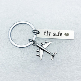 $enCountryForm.capitalKeyWord Australia - Aircraft fly safe hanging ring tag keychain personality creative special stainless steel gift new product trend fashion