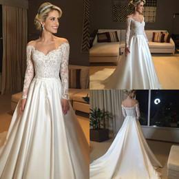 zipper back satin wedding dresses 2019 - Country Wedding Dresses Off The Shoulder Lace Appliqued A Line Long Sleeve Beach Wedding Dress Satin Bow Boho Bridal Gow