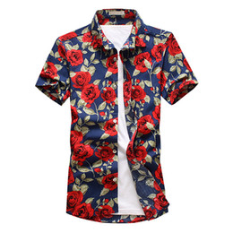 5b4532aedba Legible 2019 Summer Fashion Brand Clothing Mens Shirts Casual Slim Fit  Floral Shirt Social Holiday Short Sleeves Shirt Men 5xl